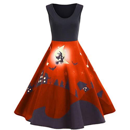 Sleeveless Tank Dresses, MEEYA Women's Vintage Printed Halloween Party Long Dress ()