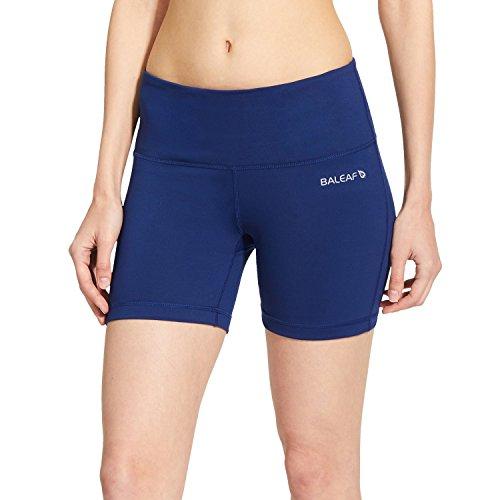 Baleaf Women's High Waist Yoga Shorts Tummy Control Inner Pocket Navy Blue Size M