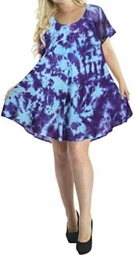c9dccad408b4 LA LEELA Women Hawaiian Cover ups Maxi Tunic Loose Summer Beach Dress Tie  Dye
