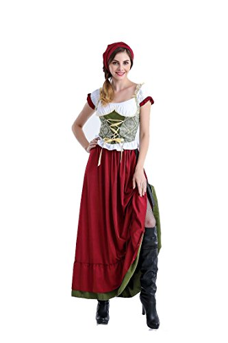 [PINSE Traditional Bavarian National German Oktoberfest Costume (M, Long)] (Costumes National Womens Clothing)