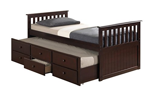 Broyhill Kids Marco Island Captain's Bed with Trundle Bed and Drawers, Twin, Espresso, Twin-Sized Mattress, Bunk Bed Alternative, Great for Sleepovers, Underbed Storage/Organization (Hardwood Full Captains Bed)