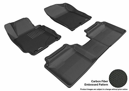 3D MAXpider Complete Set Custom Fit All-Weather Floor Mat for Select Hyundai Elantra Models - Kagu Rubber (Black)