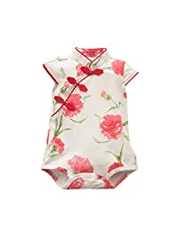 Festwolf Baby Girls Rose Flower Print Sleeveless Cheongsa Chinese Style Romper