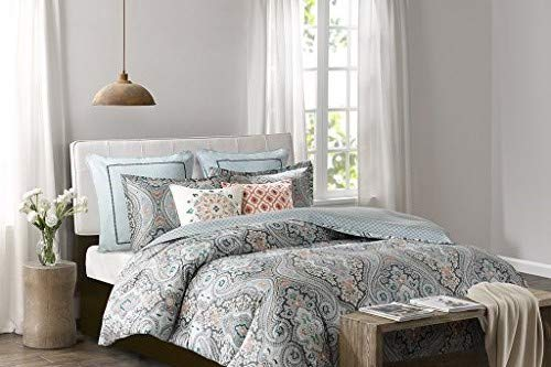 Echo Design Sterling Duvet Cover Full/Queen Size - Teal Green, Damask Duvet Cover Set – 3 Piece – Cotton Light Weight Bed Comforter Covers