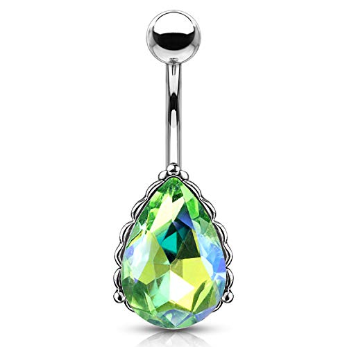 BodyJ4You Belly Button Ring Tear Drop Large Green Crystal 14G Heart Filigree Navel Banana Bar Jewelry