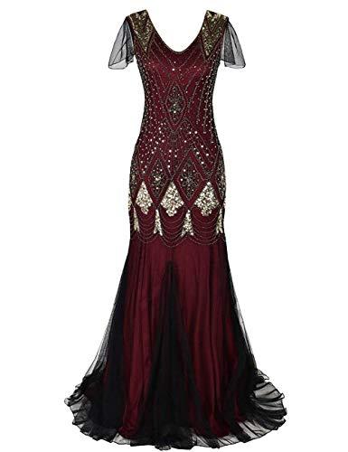 MAYEVER Women 1920s Long Prom Gown Beaded Sequin Mermaid Hem Ball Evening Dress with Sleeve Headband Free (XXL, Gold Burgundy)]()
