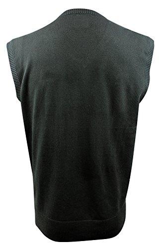 Enimay Mens Argyle V-Neck Golf Sweater Vest Black Turquoise Large