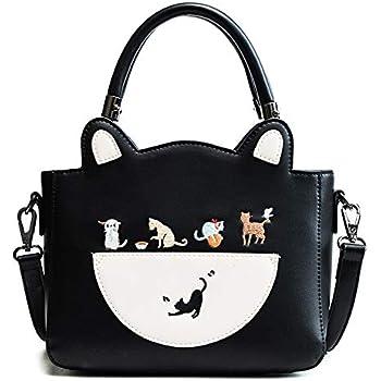 Women Cat Handbag Purse for Girls (Black-1)