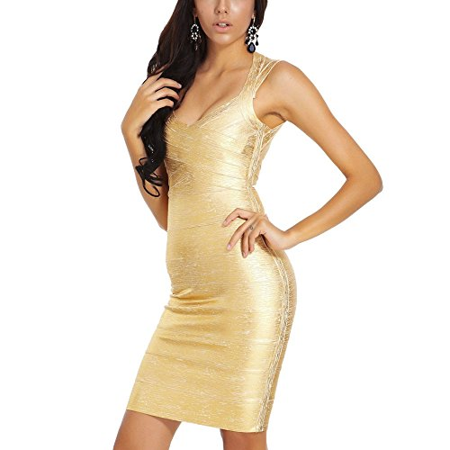 HLBandage Sleeveless Metallic Foil Print Mini Rayon Party Bandage Dress (XS, Gold)