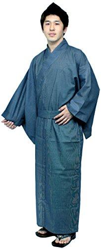 Kimono Japan Men's Easy Yukata Robe Navy Fine Stripe XXLarge