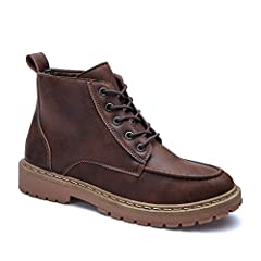 "Gender: For Men  Boot Type: Motorcycle Boots  Boot Height: Ankle  Toe Shape: Round Toe  Heel Type: Flat Heel  Heel Hight: Flat(0-0.5"")  Closure Type: Lace-Up  Pattern Type: Others  Embellishment: None  Outsole Material: Rubber  Upper Material..."