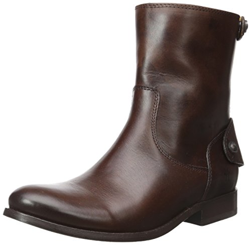 Frye Melissa Button Zip Short de La Mujer Dark Brown Smooth Vintage Leather-76501