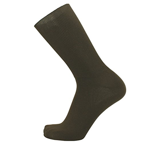 Classic Cuff Socks - SOK Men's Thin Loose Cuff Socks - 5 Pairs - Non-binding Classic Walnut Brown Socks sizes: 10-12