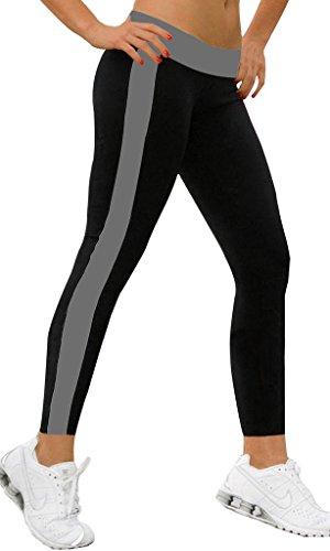 iLoveSIA Women's Tight Ankle Legging Leggings L Black+Grey