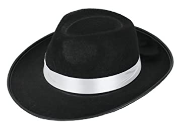 3bfa1bbe2ca 6 X GANGSTER HAT BLACK FELT WITH WHTIE BAND FANCY DRESS COSTUME ...