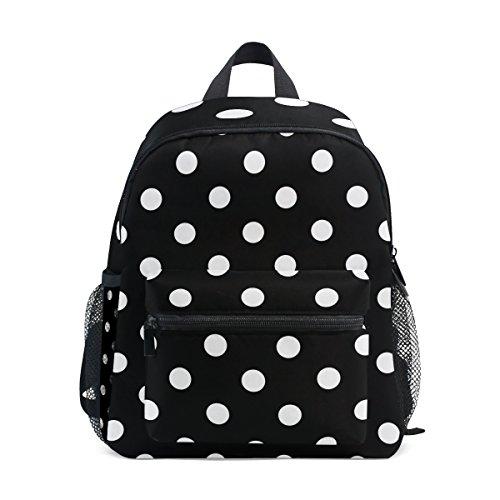 DEYYA White Black Polka Dot Mini Kids All-in-One Pre-School Backpacks for Kindergarten Toddler Boy Girls