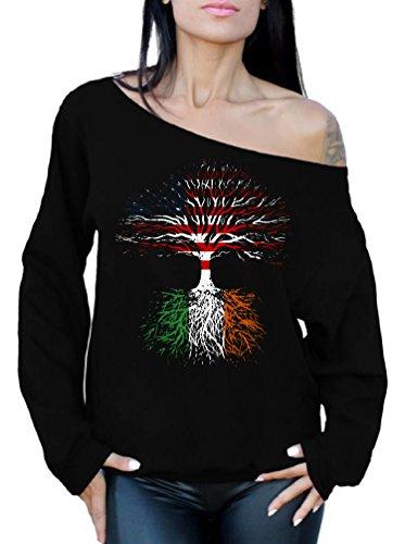 American Made Women Clothing - Awkward Styles Irish Roots Off Shoulder Sweatshirt Proud to Be Irish American Black L