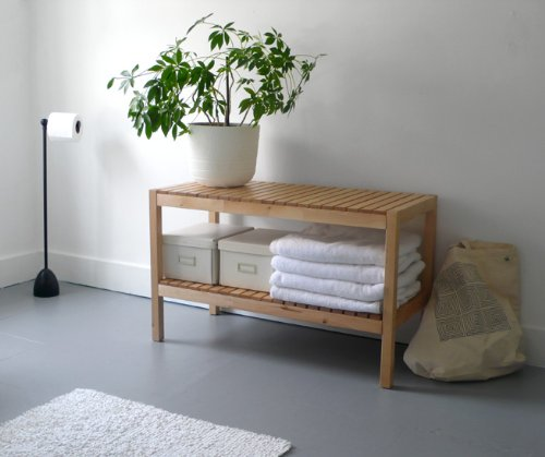 IKEA Bench With Shelf, brown, solid wood/birch