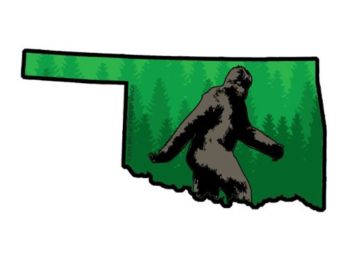Oklahoma State Shape with Bigfoot (Bumper Sticker)