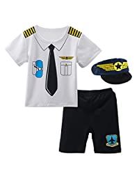 Mombebe Baby Boys' Pilot Sets Summer Police 3Pcs Suit