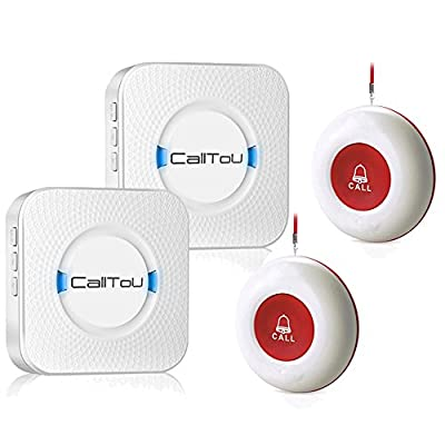 CallToU Wireless Caregiver Pager Smart Call System 2 SOS Call Buttons/Transmitters 2 Receivers Nurse Calling Alert Patient Help System for Home/Personal Attention Pager 500+Feet Plugin Receiver Alert