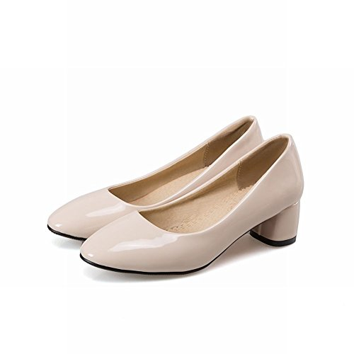 Latasa Womens Solid Color Chunky Heels Casual Pumps Beige H7lH12