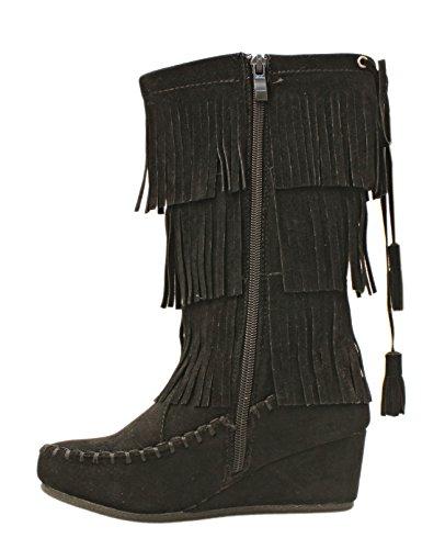 Voor Altijd Titan Mall Peggy-93k Meisjes 3-laags Franje Mocassin Sleehak Dameslaarzen Zwart
