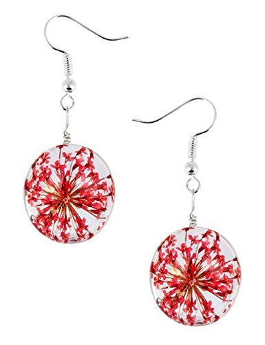 20 Mm Curved Tube - Darkey Wang Woman Fashion Dried Flowers Glass Hemisphere Time Gem 20mm Earrings(Red)