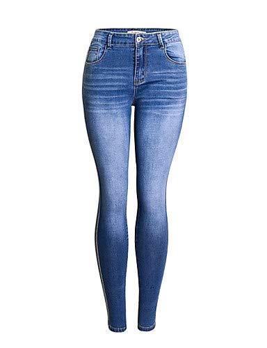 YFLTZ Femmes Jeans Active Pantalons - Solid Color Blue & White, Gland Blue