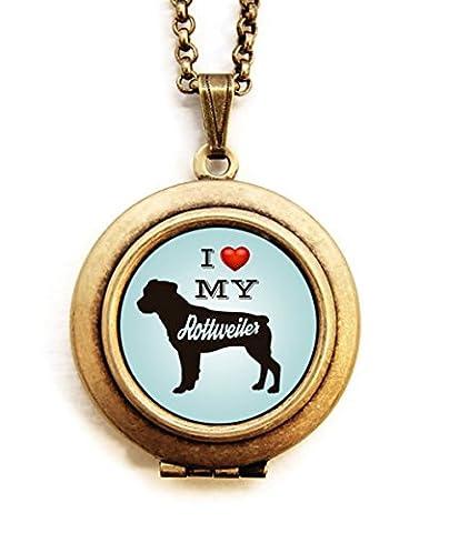 Dearest Mine Women's Brass Plated Dog Breed Silhouette Blue Petite Art Locket Necklace 18 inches - Rottweiler Jewelry