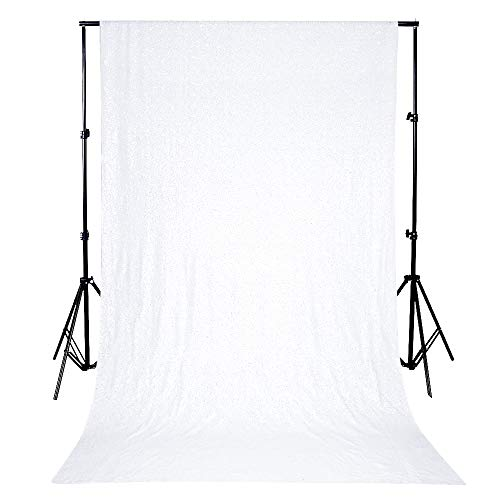 QueenDream 4ftx6.5ft White Sequin Backdrop White Party Background Wedding Photo Backdrop for Baby Shower -