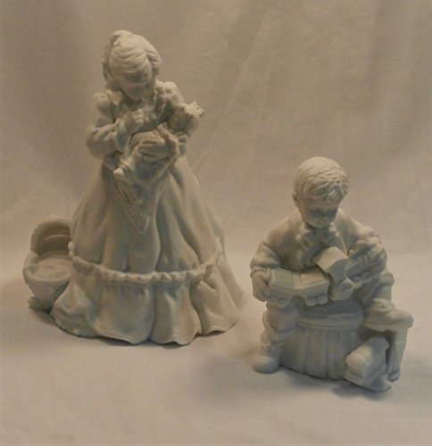 Winter Silhouette Dept 56 Fine White Porcelain Christmas Presents Holiday Figurines - Set of 2