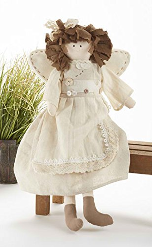 Doll Angel Primitive (Delton Products 18 Inches Beige Angel with Fabric Hair Plush Doll)