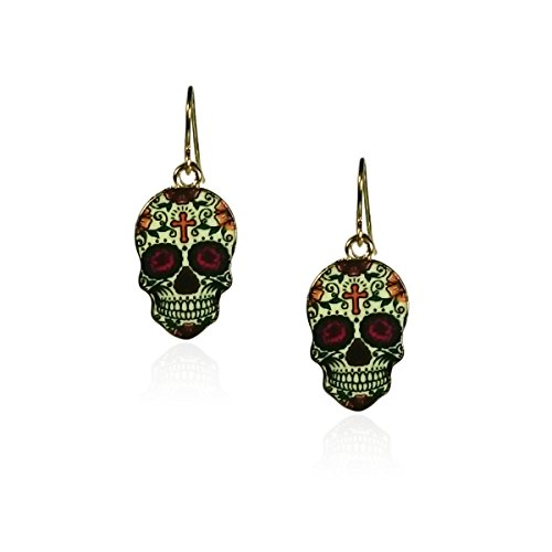 fidaShop New Day of The Dead Rock Vintage Halloween Dangle Earrings, Nickel Free and Anti-Allergic (Red Eyes)