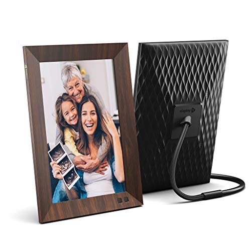 : Nixplay Smart Digital Photo Frame 10.1 Inch Wood-Effect - Share Moments Instantly via EMail or App