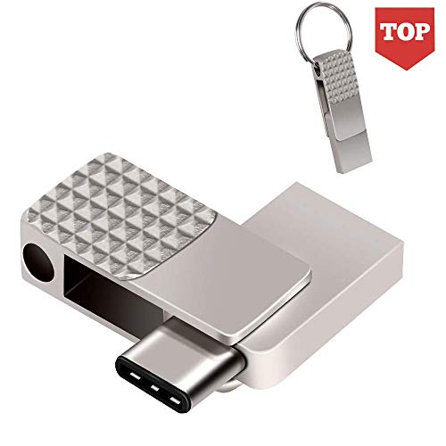 USB C Flash Drive 128GB, ARETOP 2 in 1 OTG Type C+ USB 3.0 Mini Metal Flash Drive for Android Thumb Drive PenDrive Memory Stick with Keychain Compatible for iPad Pro MacBook Samsung Galaxy S10/S9/S8