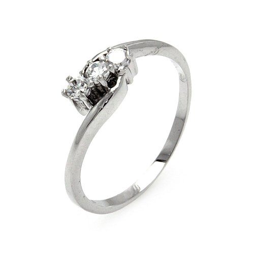 (Princess Kylie Classic Tension Set Clear Cubic Zirconia Shaped Ring Rhodium Plated Sterling Silver Size 7)