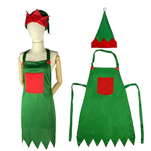 Lesirit Christmas Kitchen Apron Adult Elf Aprons Xmas Dinner Party Cooking Apron with Pockets & Hat &Bells for Holiday Decoration (1)