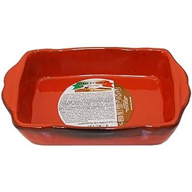 De Silva:  Terre D'Umbria  Lasagne Dish Made of Terracotta (Earthenware) (6.7 x 4.3 Inches Base) [ Italian Import ]