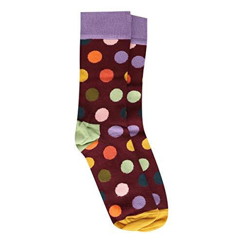 Meia 3/4 Happy Socks Big Dot Sock Feminina - Roxo+Laranja - 34-38