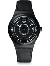 Swatch Women's Sistem51 SUTB400 Black Leather Automatic Watch
