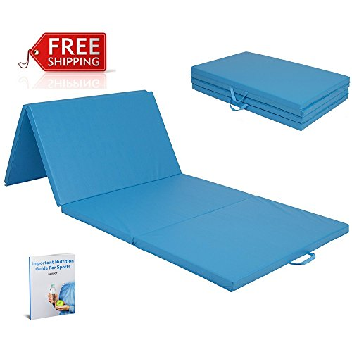 Thick Folding Panel Gymnastic Mat Blue Floor Workout Folding Yoga Tumble For Girls And Boys 4 Panels Eco-Friendly Fitness Acrobatic Tumbling Gym Landing Exercise For Home And eBook By NAKSHOP by NAKSHOP