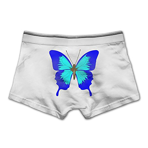 Price comparison product image Buopi A Blue Butterfly Basic Solid Ultra Soft Men's Underwear Trunks Cotton Stretch Brief MWhite