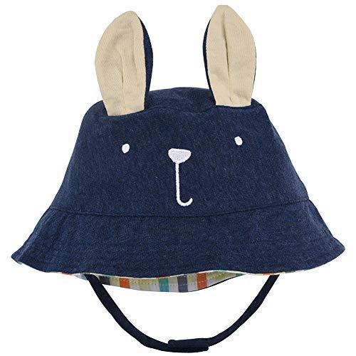 Baby Animal Sun Hat - Toddler Kids Boys Breathable Cartoon Summer Sun Protection Bucket Hat(Navy Blue Rabbit,48cm)]()