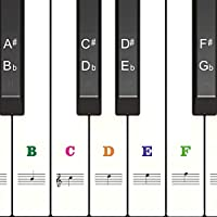 Color Piano Stickers for Keys 88/61/54/49, Transparent &...