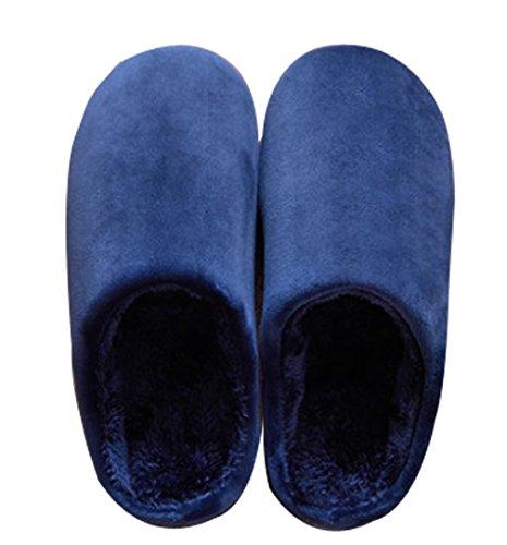 Cattior Heren Warme Zachte Indoor Slippers Zachte Pantoffels Marine Blauw
