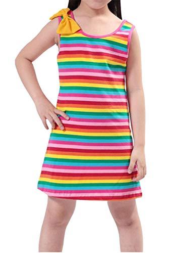 Niyage Girls Sleeveless Summer Dress Casual Tank Rainbow Striped Dress 2T Rainbow]()