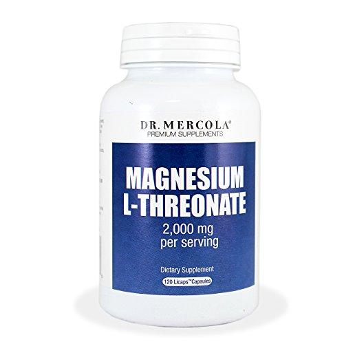 El Dr. Mercola magnesio L-Threonate - 2.000 mg por porción - libre de cualquier ingrediente genéticamente - Licaps 120 cápsulas