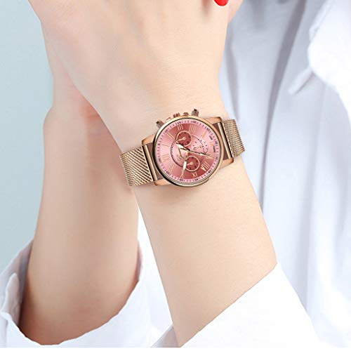 Pocciol Fashion Military Stainless Steel Quartz Watch Womens Casual Watch Luxury Analog Wristwatch (Pink) by Pocciol Cheap-Nice Watch (Image #4)