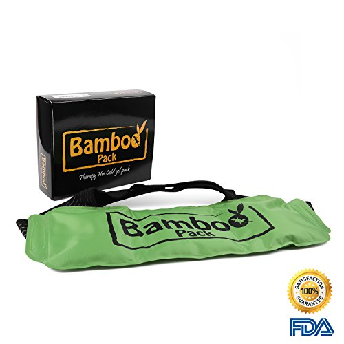 Bamboo Pack Hot Cold Compress - Highly Durable Vinyl Microwavable Wrap Gel Pack With Flannel Sleeve - Deals With Pain Therapy For Back, Shoulder, Waist, Neck, Ankle, hip, Etc. | Large Size 15